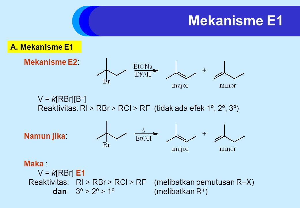 Mekanisme E1 A. Mekanisme E1 Mekanisme E2: V = k[RBr][B–]